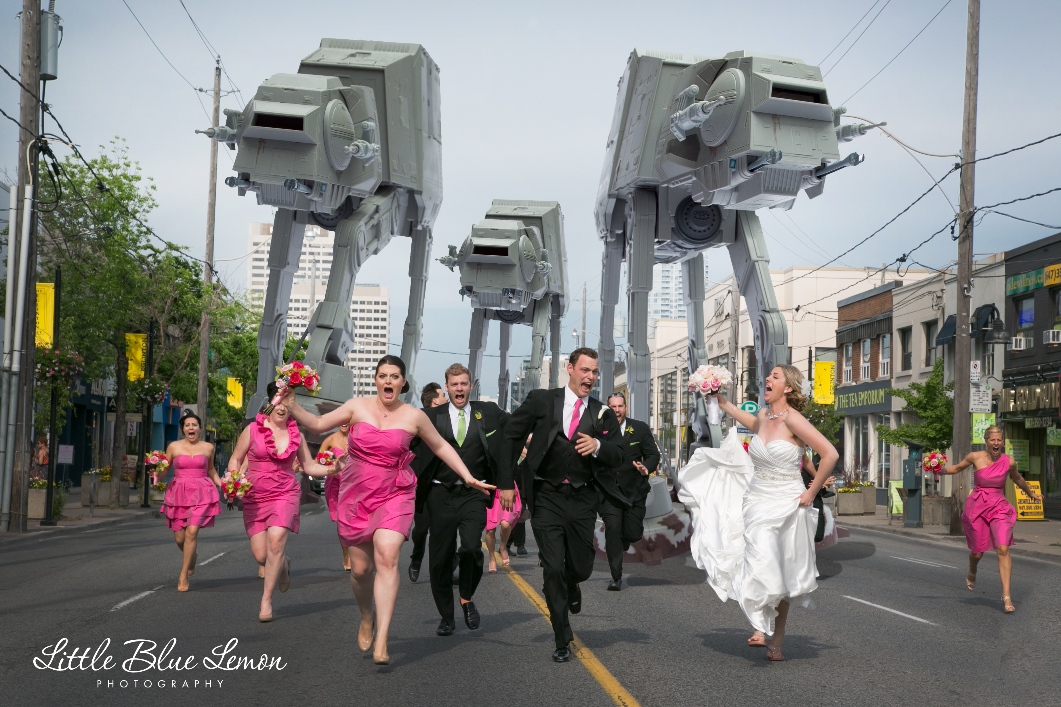 39 star wars 39 wedding photo shows bridal party getting chased by at at walkers huffpost. Black Bedroom Furniture Sets. Home Design Ideas
