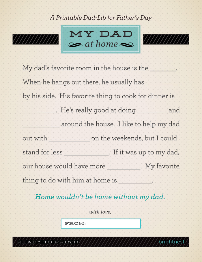 graphic relating to Father's Day Fill in the Blank Printable named Instant Fathers Working day Present: A Printable Father-Lib HuffPost Daily life