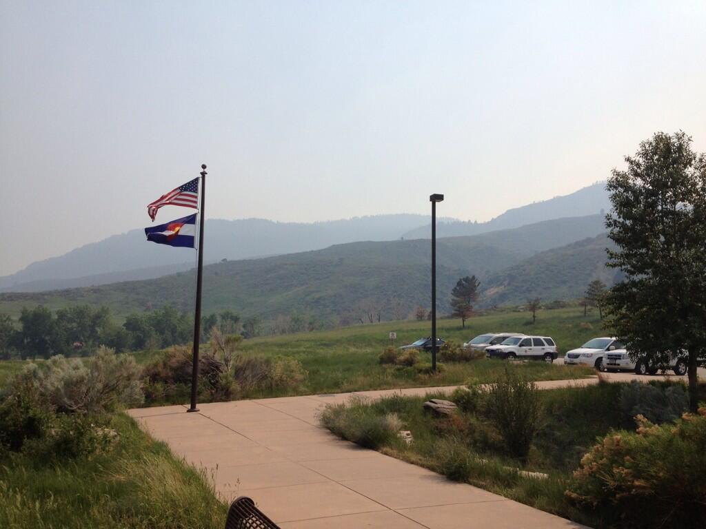 Smoke from nearby wildfire seen from Lory State Park