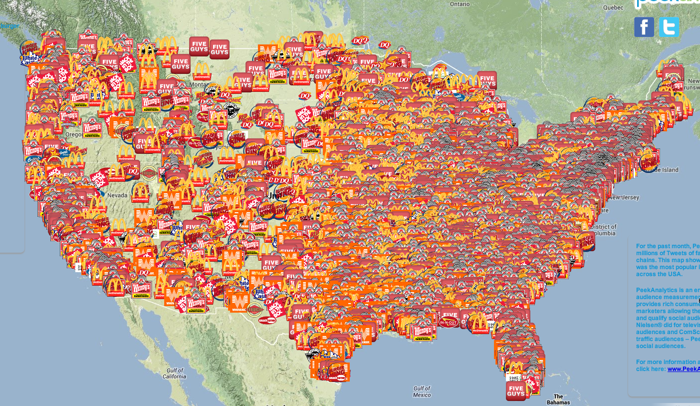Burger Map From PeekAnalytics Displays Most Tweeted Chains Across The U S