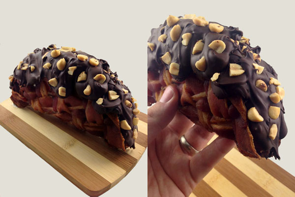... until now no one has combined them to make a Bacon Weave Choco Taco