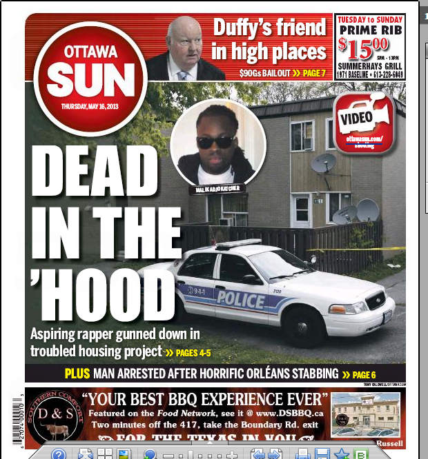 May 2013-- Ottawa Sun cover page - Dead in the Hood