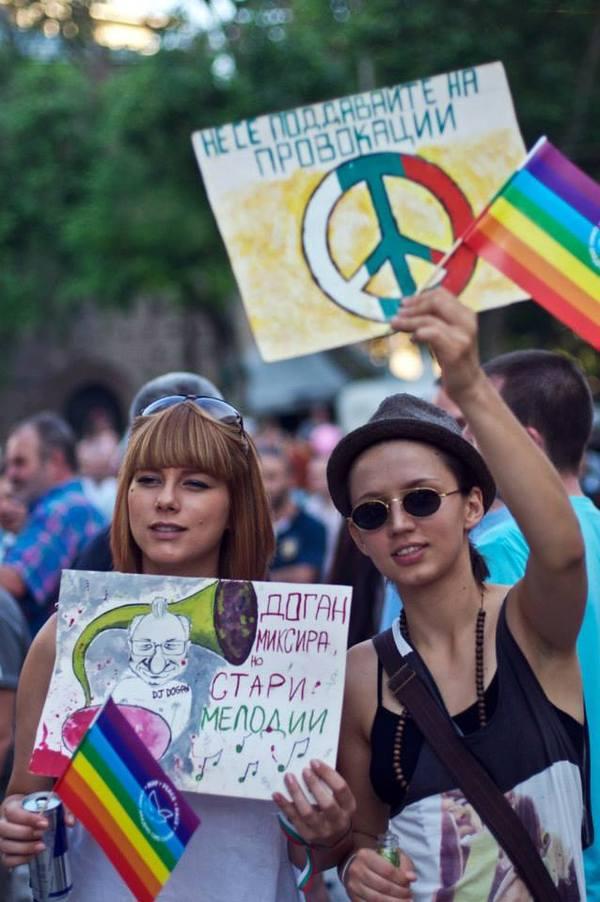 Two girls protesting in Sofia, Bulgaria. Photo by Vera Gotseva