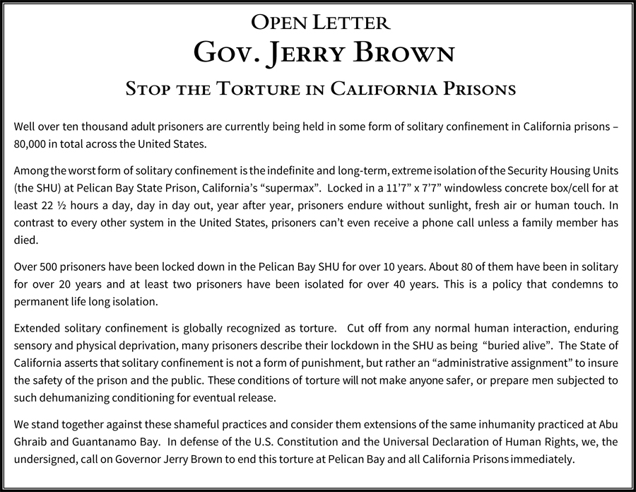 An Open Letter To Jerry Brown Stop The Torture Of Solitary