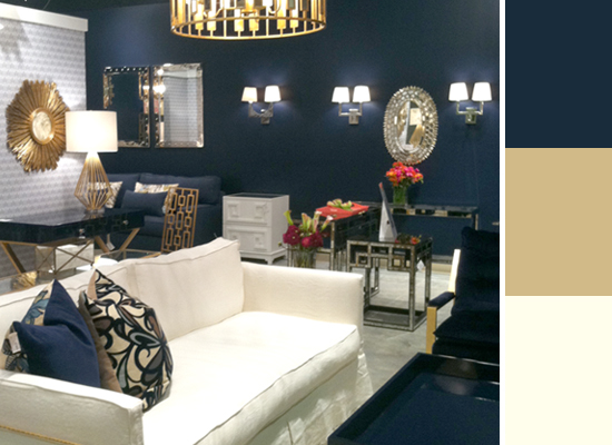 2013 Design Trends at Las Vegas Market -- Navy Gold and White