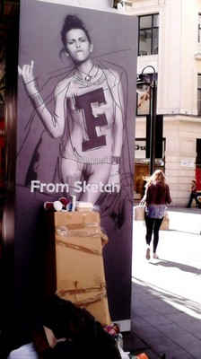 The FCUK nude campaign poster in Argyll Street London