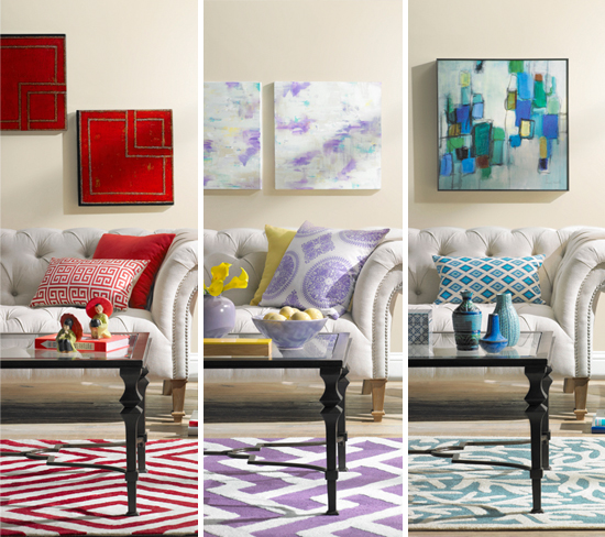 Living Room Decor Colors a colorful living room decorating idea: one room, three ways