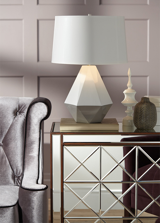 fall home decor trend geometric patterns on lighting and home decor