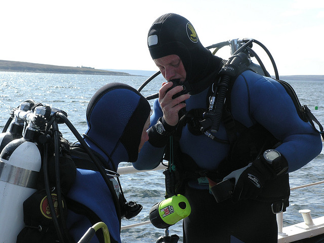 Getting ready to dive Scapa Flow