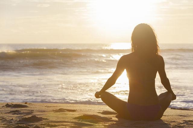 Beachside yoga class