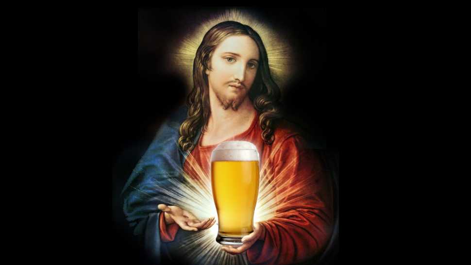 Image result for jesus and beer