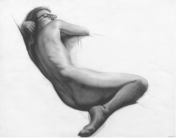 Russian Life Drawing Figure Reclining With Glasses