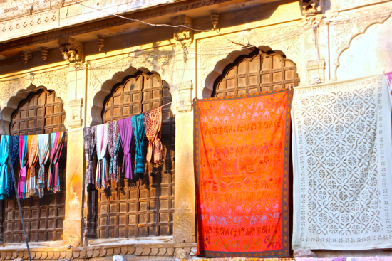 colorful quilts paint the walkways of Jaisalmer's fort