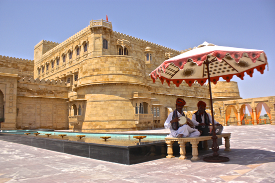 local musicians welcome you into Suryagarh fort hotel