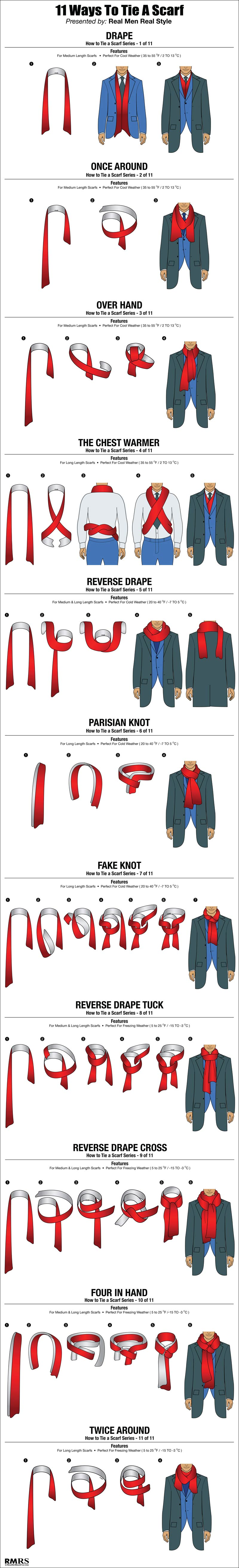 11 ways to tie a scarf in one chart huffpost
