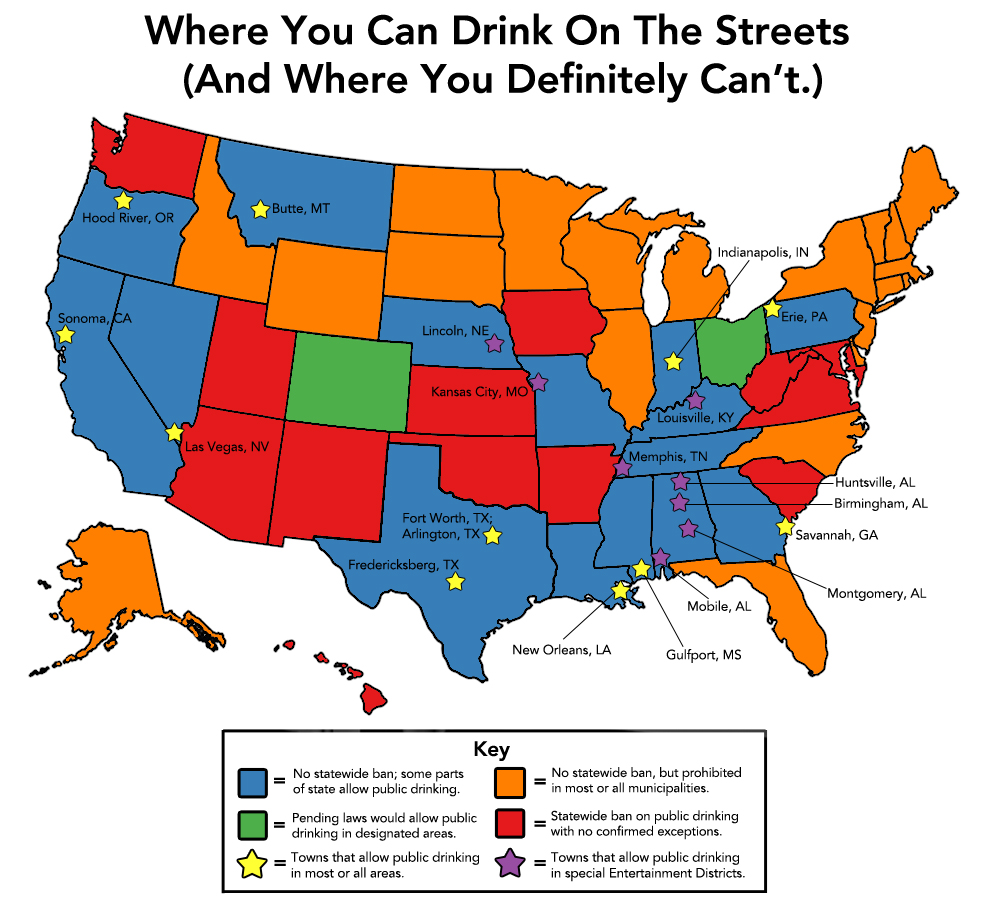 Heres Where You Can Drink In Public In America INFOGRAPHIC