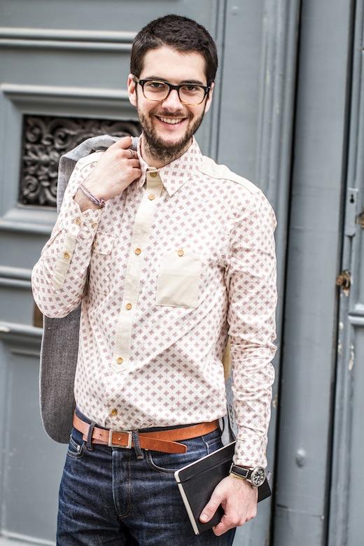 Chemise Three Animals  pour un look urbain et subtilement original grâce  au motif et aux patchs en cuir
