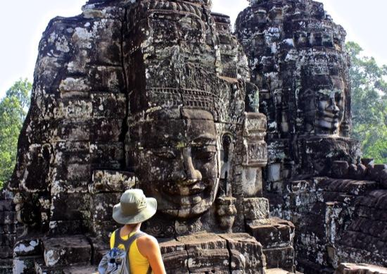 Facing the Bayon in Angkor Thom
