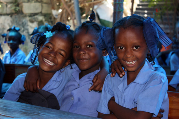 Girls at a school in Jacmel, Haiti