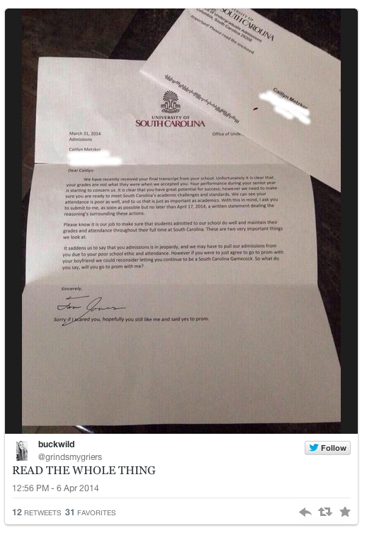 Fake College Rejection Letter Might Just Be The Meanest Promposal Ever HuffPost