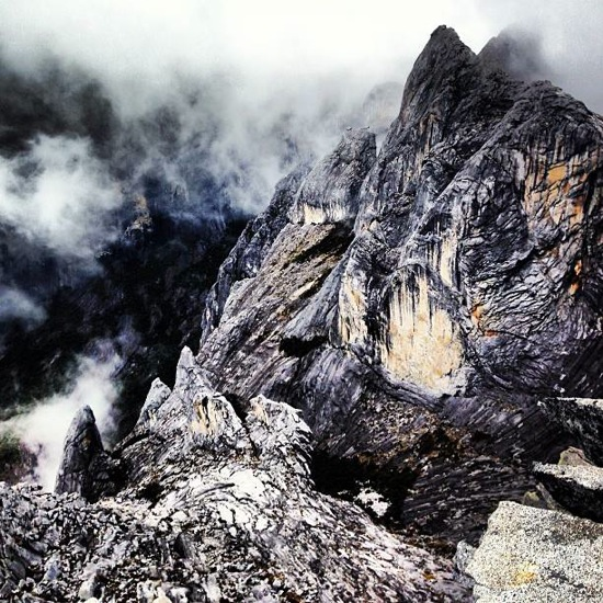 Mt. Kinabalu Borneo is like the surface of the moon with clouds