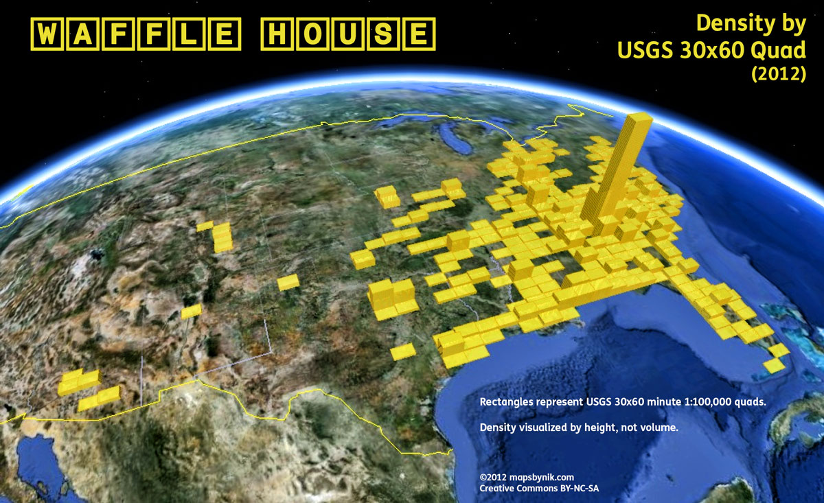 a map of all the waffle house locations in america huffpost