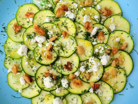"""Zucchini """"Carpaccio"""" with Feta, Walnuts and Dill"""