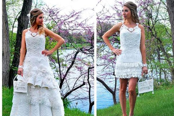Vestido de novia desmontable. Está realizado íntegramente con papel de higiénico.