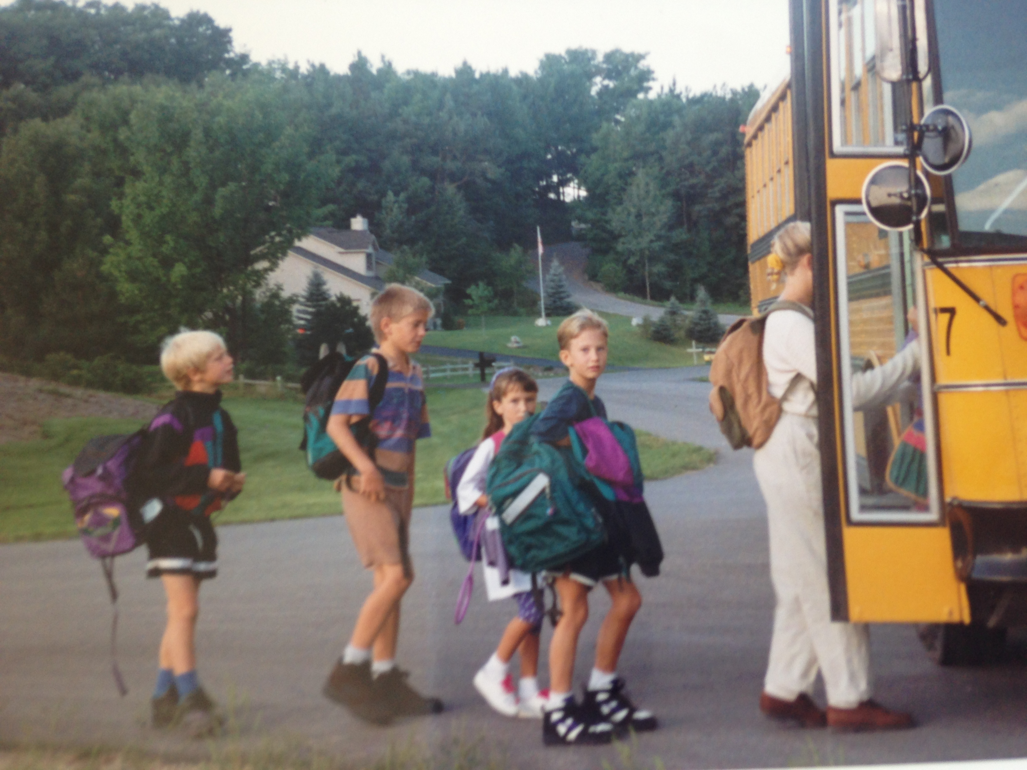 First day of fourth grade i m the one with the green backpack and