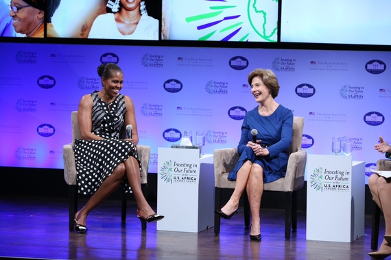 First Lady Michelle Obama and Mrs. Laura Bush