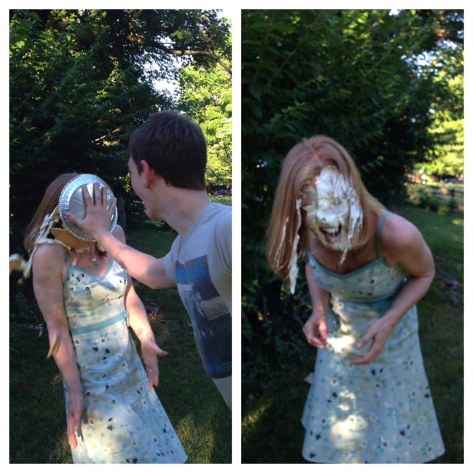 Woman gets surprise pie in the face
