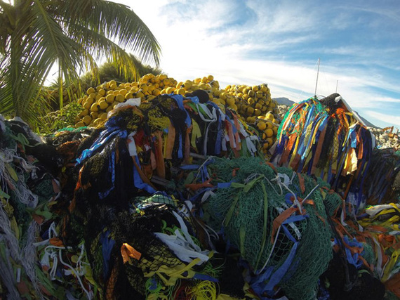 A pile of FADs in a shipyard in Micronesia. These mountains of plastic not only lead to higher bycatch of threatened species, but also contribute to the growing marine debris problem. Photo: Pew Commission