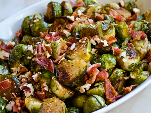 one for the holidays: golden roasted brussels sprouts with smoky bacon ...