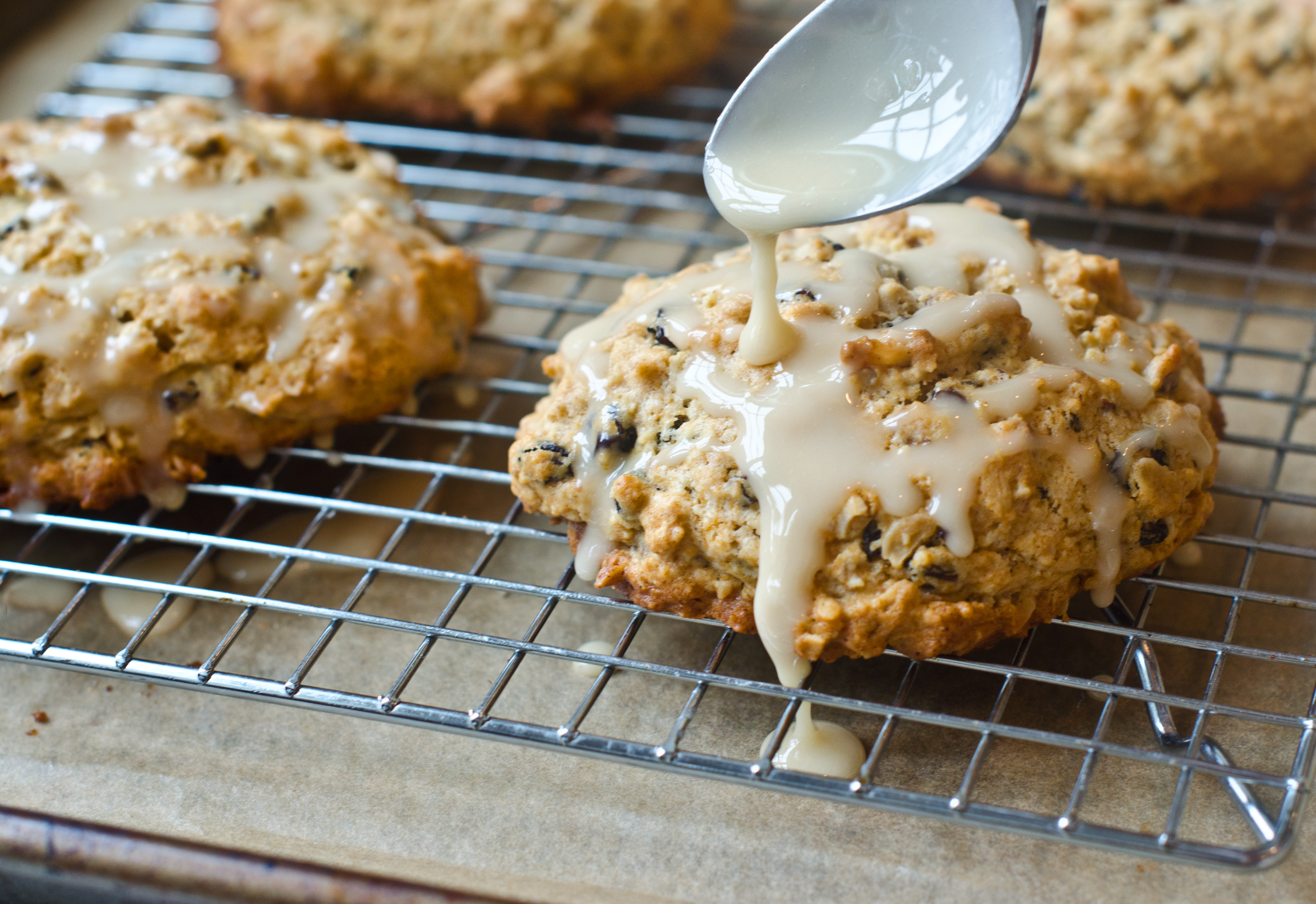 10. Glazed Oatmeal-Maple Scones with Pecans & Currants