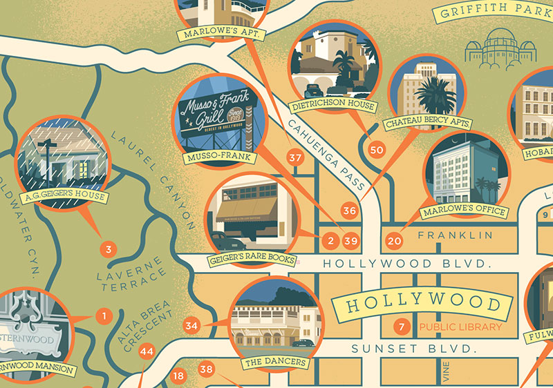 The Raymond Chandler Map of Los Angeles – Los Angeles Map Tourist