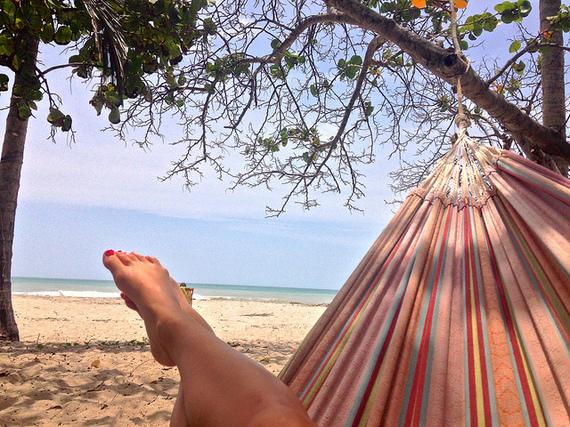beach hammock at La Sirena Palomino Colombia