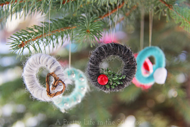 2014 11 27 1miniyarnwreathjpg - Mini Christmas Tree Ornaments