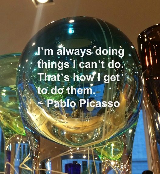 """""""I'm always doing things I can't do. That's how I get to do them."""" ~ Pablo Picasso #quote http://charityideasblog.com A Dozen #Inspiring Quotes for an Insightful 2015"""