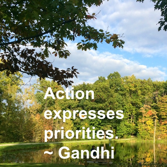 """""""Action expresses priorities."""" ~ Gandhi #quote http://charityideasblog.com A Dozen #Inspiring Quotes for an Insightful 2015"""