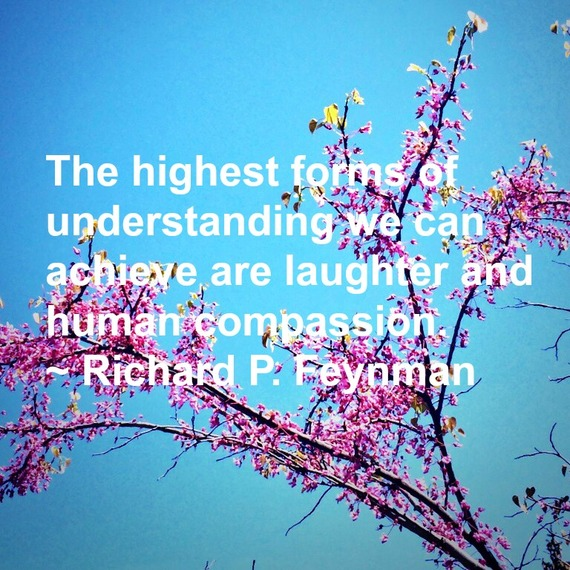 """""""The highest forms of understanding we can achieve are laughter and human compassion."""" ~ Richard P. Feynman #quote http://charityideasblog.com A Dozen #Inspiring Quotes for an Insightful 2015"""