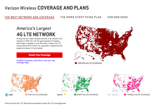 You Live In Oregon There S A Lot More White Space On At T Sprint And T Mobile S 4g Lte Network That Verizon S