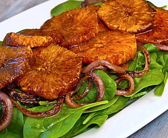 Oranges, Caramelized Red Onions and Baby Spinach in Balsamic ...