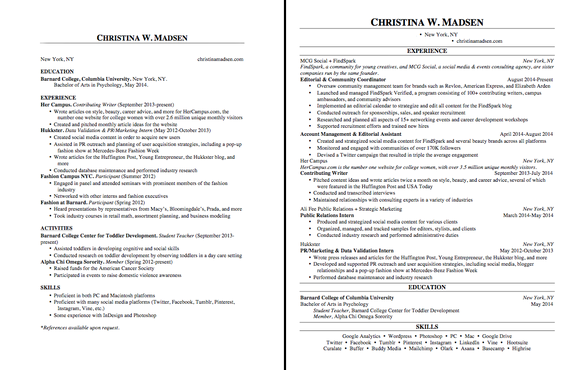 margins for a resumes