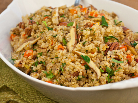 Quinoa Pilaf with Shiitake Mushrooms, Carrots & Pecans