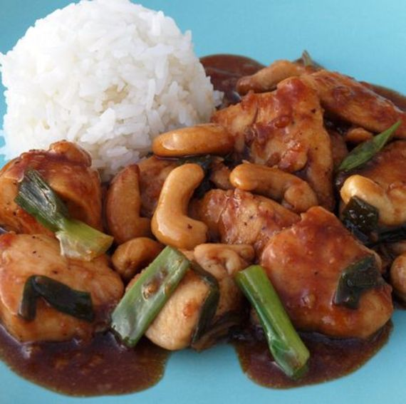 ... chicken with roasted cashews in an authentic brown garlic sauce. GET