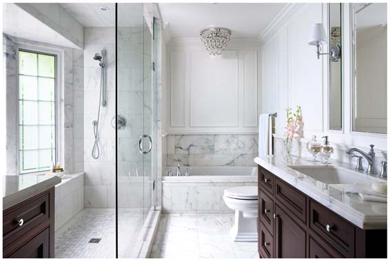 9 stunning marble bathroom design ideas huffpost for Hall bath remodel ideas
