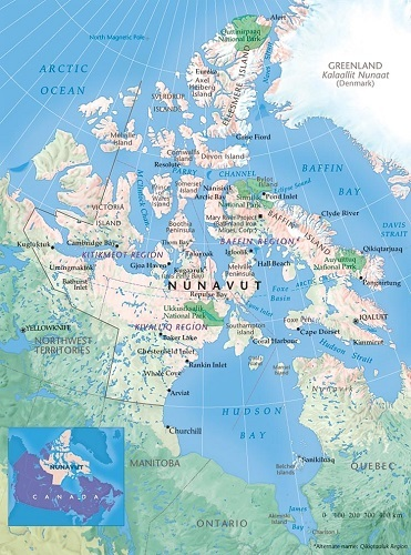 In Canadas Inuit Territory Of Nunavut Nanook Of The North On The - Nunavut map