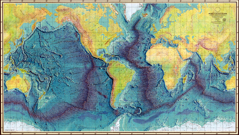 The mid-oceanic ridge wraps around the globe like a seam on a baseball.