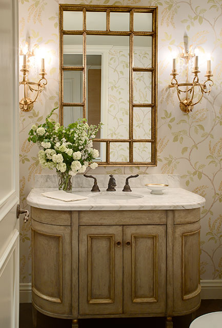 6 reasons to use wallpaper in a small bathroom huffpost life for Bathroom remodel mckinney