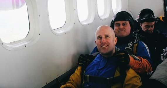 In the plane getting ready to jump